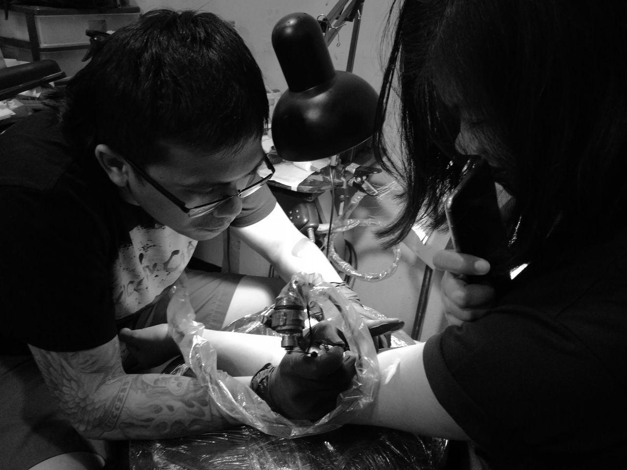 Tattoo Girl Real People Tattoo Tattoo Shop MonochromePhotography Philippines