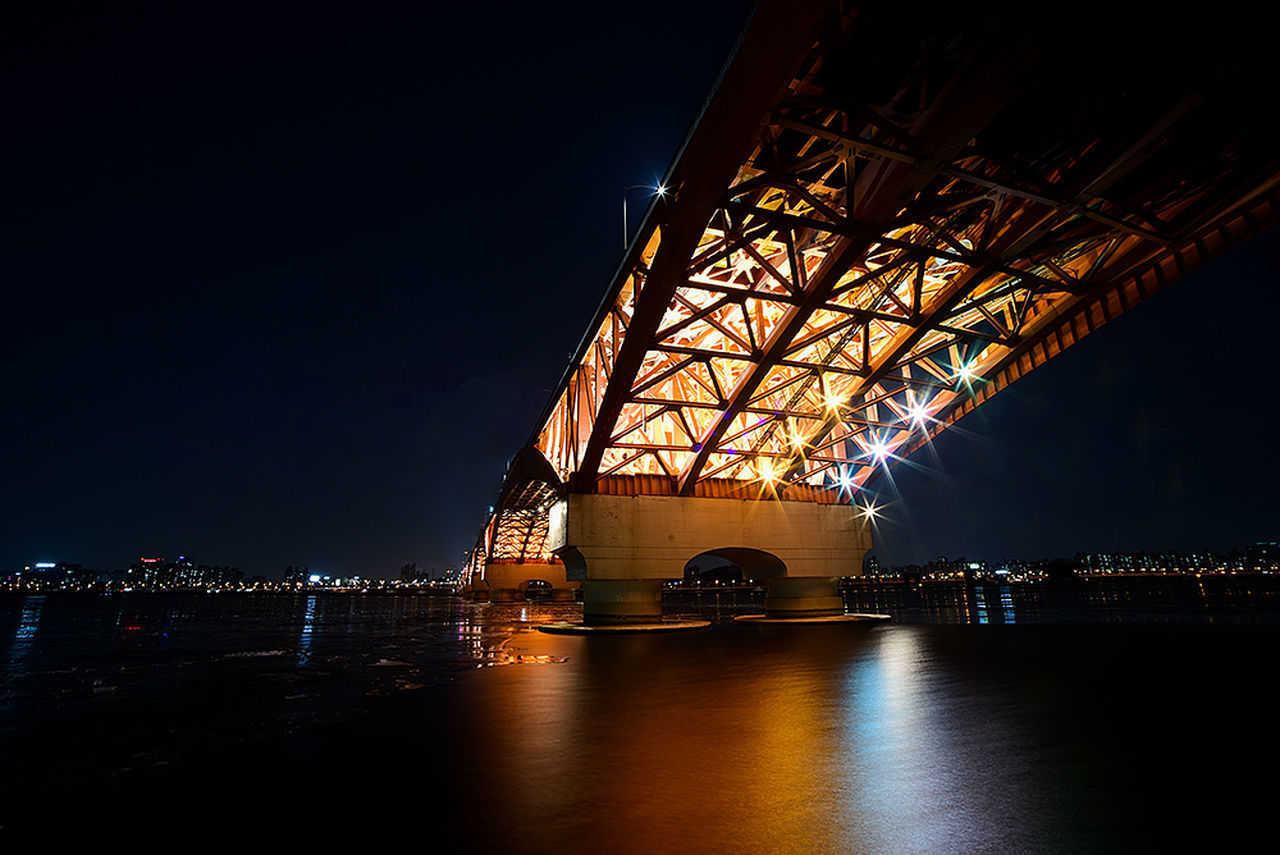 bridge - man made structure, connection, night, built structure, architecture, illuminated, transportation, river, water, no people, suspension bridge, outdoors, sky