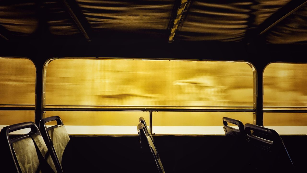 transportation, train - vehicle, vehicle seat, indoors, seat, public transportation, no people, mode of transport, window, journey, subway train, day, close-up