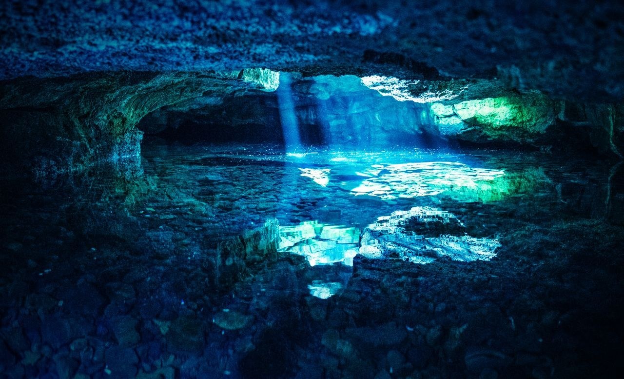 Lava tubes with a mixture of salt and fresh water Lava Hawaiishots Beach Big Island Love Big Island Hawaii Big Island Hawaii Landscape Photography Landscape_Collection Landscape_photography From My Point Of View Power In Nature Beauty In Nature Scenics Blue Water Sea Nature