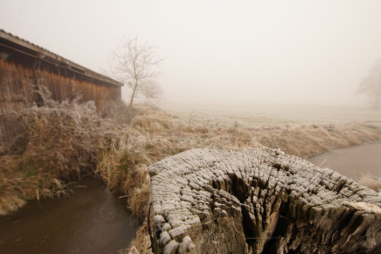Wintery Farmland Brook Cold Ditch Dry Farmland Fence Post Fog Frost Frozen Frozen Nature Grass Haze Ice Icy Meadow Old Old Buildings Post River Shed Snow Tree Water Winter Winter Day