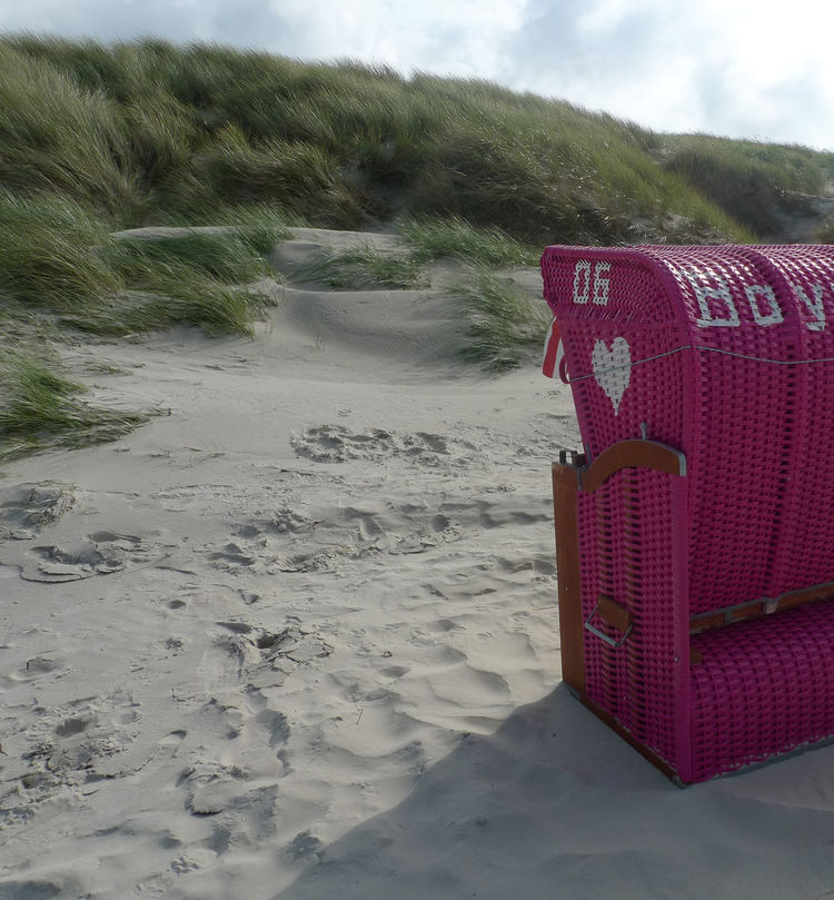 Beach Beachchair Beauty In Nature Boys Only Change Of Perspective Close-up Day Landscape Nature No People Outdoors Pink Beach Chair Romantic Rooms Room For Two Sand Sand Dune Scenics Sky Tranquil Scene Tranquility Tree Water