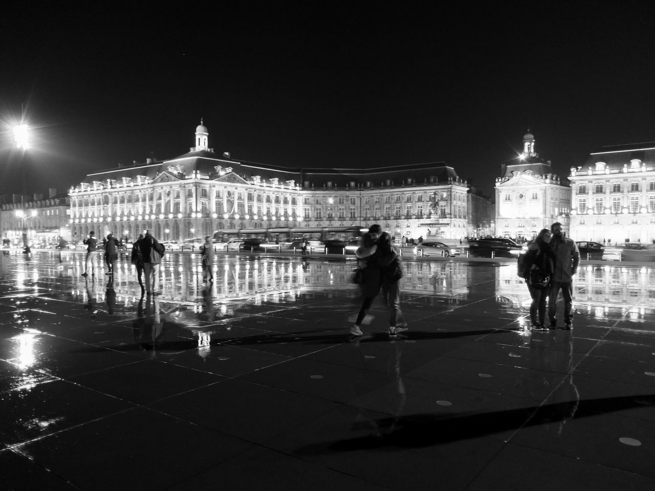 Miroir D'eau Place De La Bourse Bordeaux Adults Only Travel Travel Destinations People Real People Illuminated Leisure Activity Night Architecture Streetphotography Street Photography Streetphoto_bw TOWNSCAPE Cityscapes Cityscape Blackandwhite Black And White Bw Black & White Bnw Bw_collection Bnw_collection