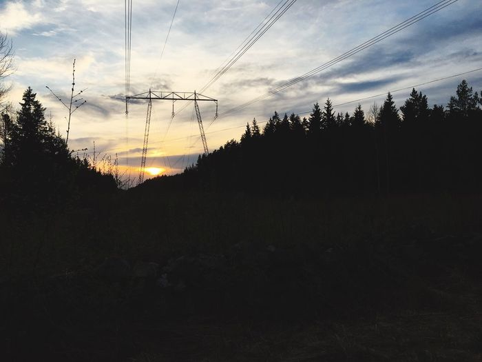 Electricity  Cable Connection Tree Sky Silhouette Power Line  Power Supply Technology Electricity Pylon Fuel And Power Generation No People Cloud - Sky Nature Tranquility Landscape Beauty In Nature Outdoors Sunset Growth