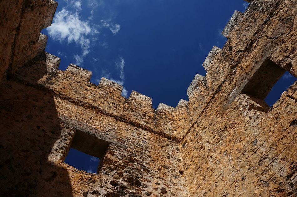 Architecture Blue Built Structure Castle Crete Day Fort Frangokastello History Leisure Low Angle View No People Outdoors Sky Tourism Travel Traveling Walls