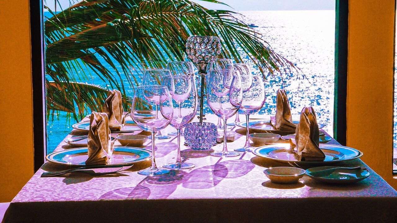 Scenics Setting Table Glass Glass_collection Glass Wine Ocean View Coconut Trees Tropical Sabah Borneo