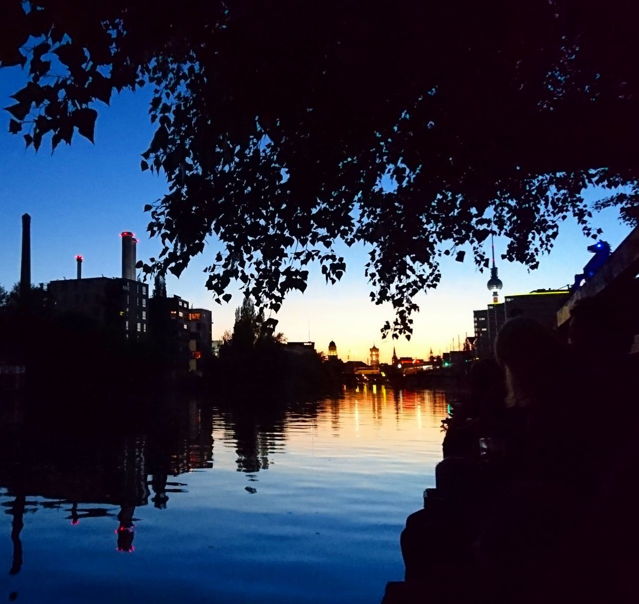 Reflection Water Outdoors Silhouette Tree Nature Summer Views Summer Time  Summer Vibes Relaxed Moments Clear Sky River Side Sunsets Sunset Sunset Silhouettes Berlin Style