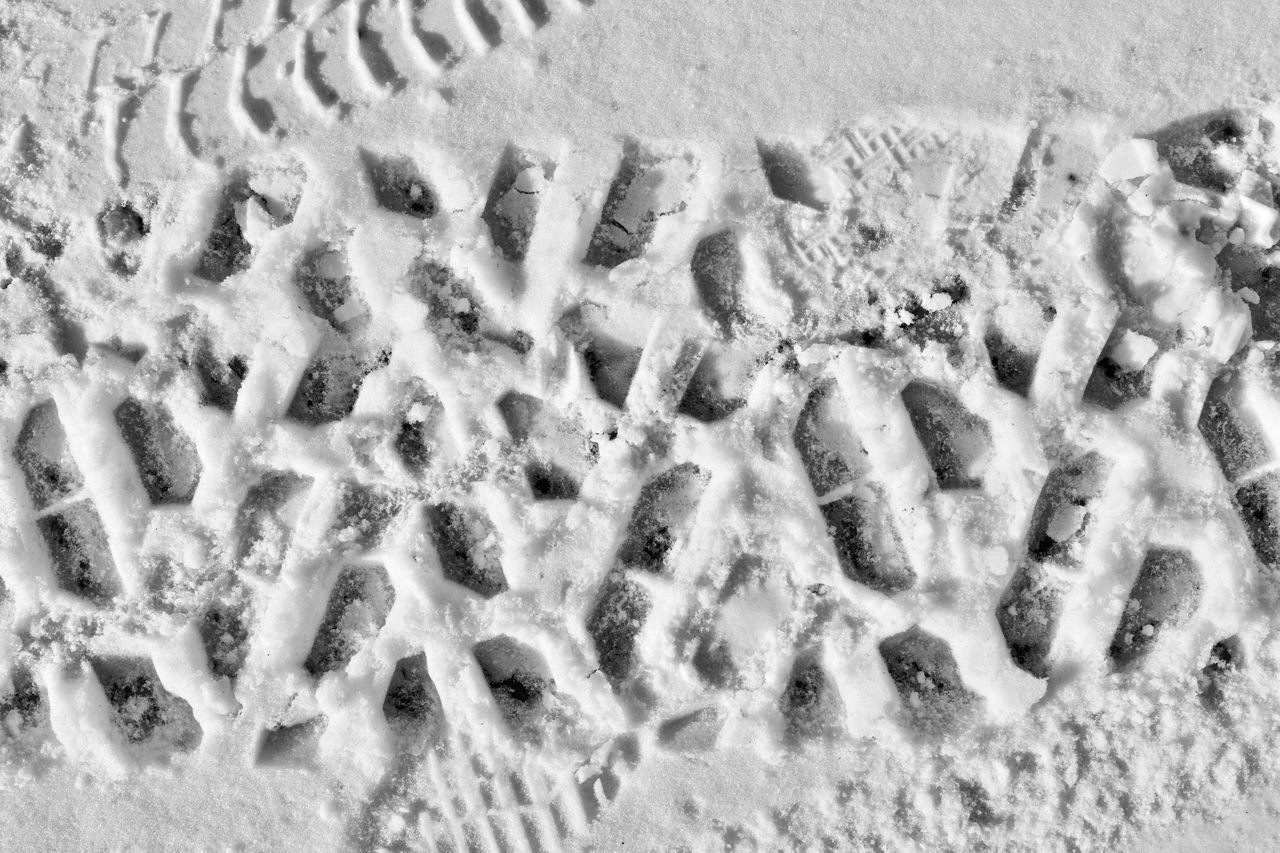 path on the snow Background Background Texture Backgrounds Close-up Full Frame Grey Ground High Angle View Monochrome Nature No People Outdoors Path Pattern Paw Print Snow Surface Texture Textured  Textures And Surfaces Tire Tire Track Track - Imprint Wallpaper White
