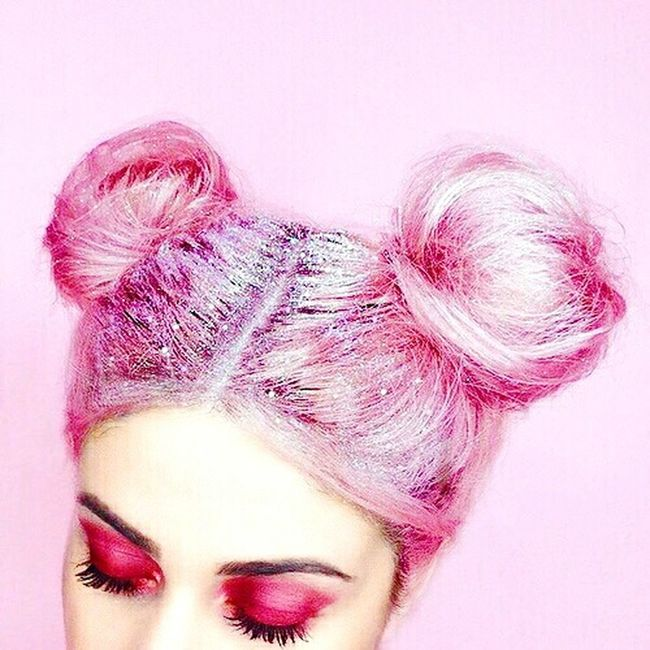 Found On The Roll First Eyeem Photo Hair Pink Color Gliter Hairstyle Girl