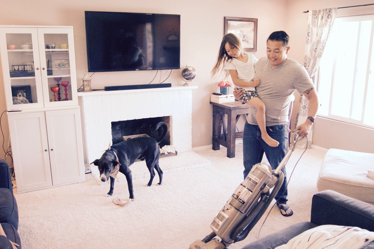 Adult Chores Dad Daughter Father Father And Daughter Fatherhood Moments Fathers Day Fathersday Home Indoors  Lifestyles People Pet Smiling Togetherness Two People Vacuum Vacuum Cleaner Vacuuming Young Adult TCPM