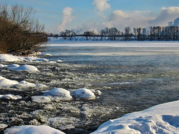 Spring coming.. Beauty In Nature Coastline Cold Cold Temperature Day February Foam Frost Frozen Frozen Lake Ice Lake Landscape Nature No People Outdoors River Riverside Scenics Sky Snow Stream Tranquility Water Weather