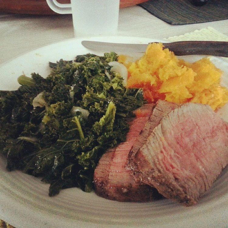 Friday dinner Kale Steak ButternutSquash Noms