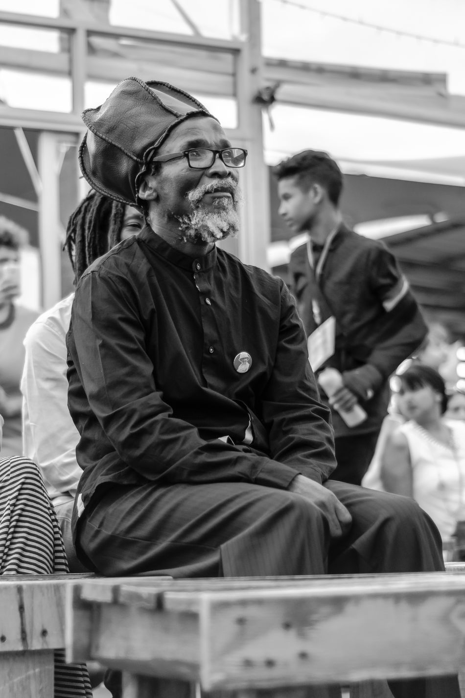 Old man watching concert Adult Beard Best EyeEm Shot Black & White Black And White Black And White Photography Blackandwhite Day Glasses Indoor Indoors  Men Old Man Old Man Portrait People RASTA Rasta Hat Rasta Man Rastafari Rastafarian Rastaman Real People Sitting Watching Week On Eyeem