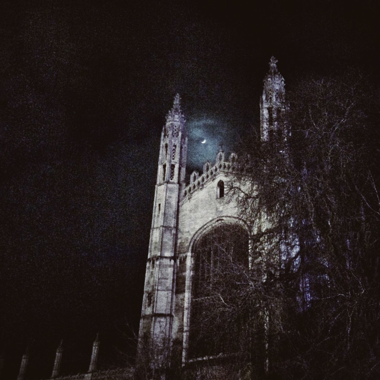 architecture, built structure, night, low angle view, building exterior, history, spirituality, place of worship, religion, travel destinations, no people, outdoors, old ruin, ancient civilization, illuminated, sky, bell tower