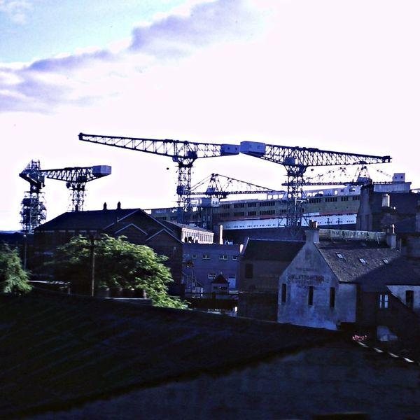 Queen Elizabeth 2 in the John Brown Shipyard in Clydebank, Scotland, July 1967. Ship Building