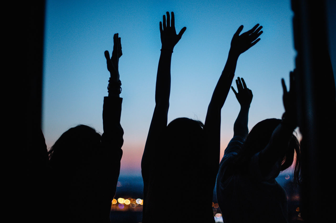 Enjoy The New Normal Friendship Girls Hand Raised Happiness Human Body Part Human Hand Lights Night Outdoors People Silhouette Sky Summertime Women My Year My View Fresh On Market 2016
