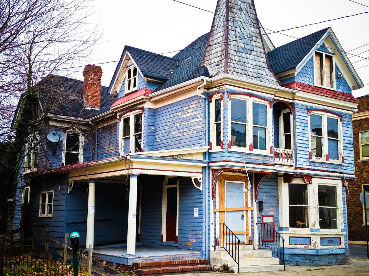 Architecture Blue House Damaged Deterioration Martinsburg Old Old House Victorian House