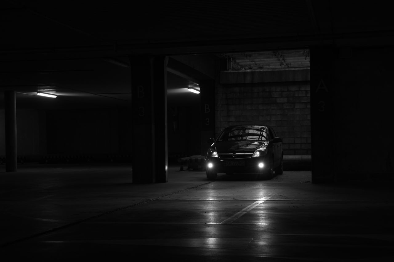 Architectural Column Architecture Astronomy B&w Built Structure Car Garage Illuminated Indoors  Land Vehicle Mode Of Transport Night No People Opel Astra Opel Astra GTC Parking Garage Transportation