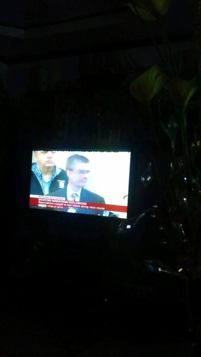 Watching Breaking News #Boston Bombings