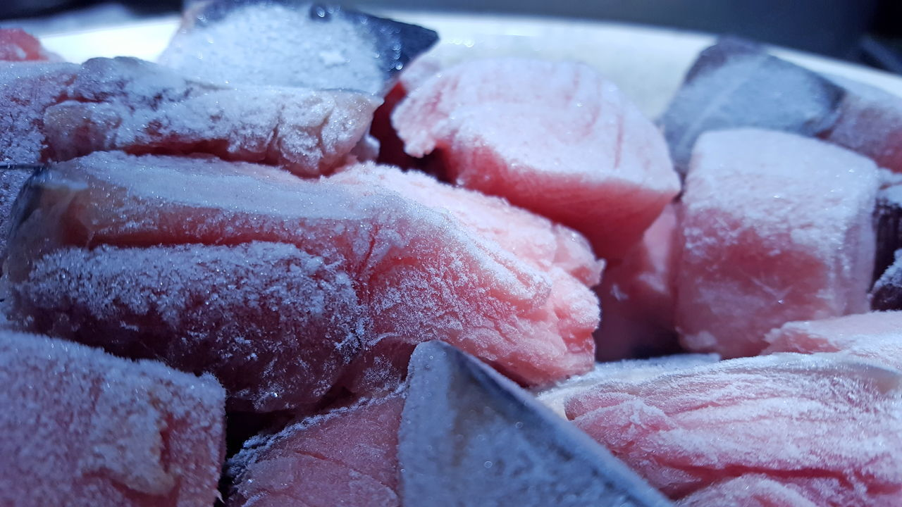 Raw Fish and meats on a plate Food Ice Iced Freezer Frozen Sea Food Refrigerator Healthy Eating Raw Meat Fish Frosted Nutrients Nourishing Proteins Fresh Icy Flesh Meats Mutton Beef Stake Chicken Cold Room Red