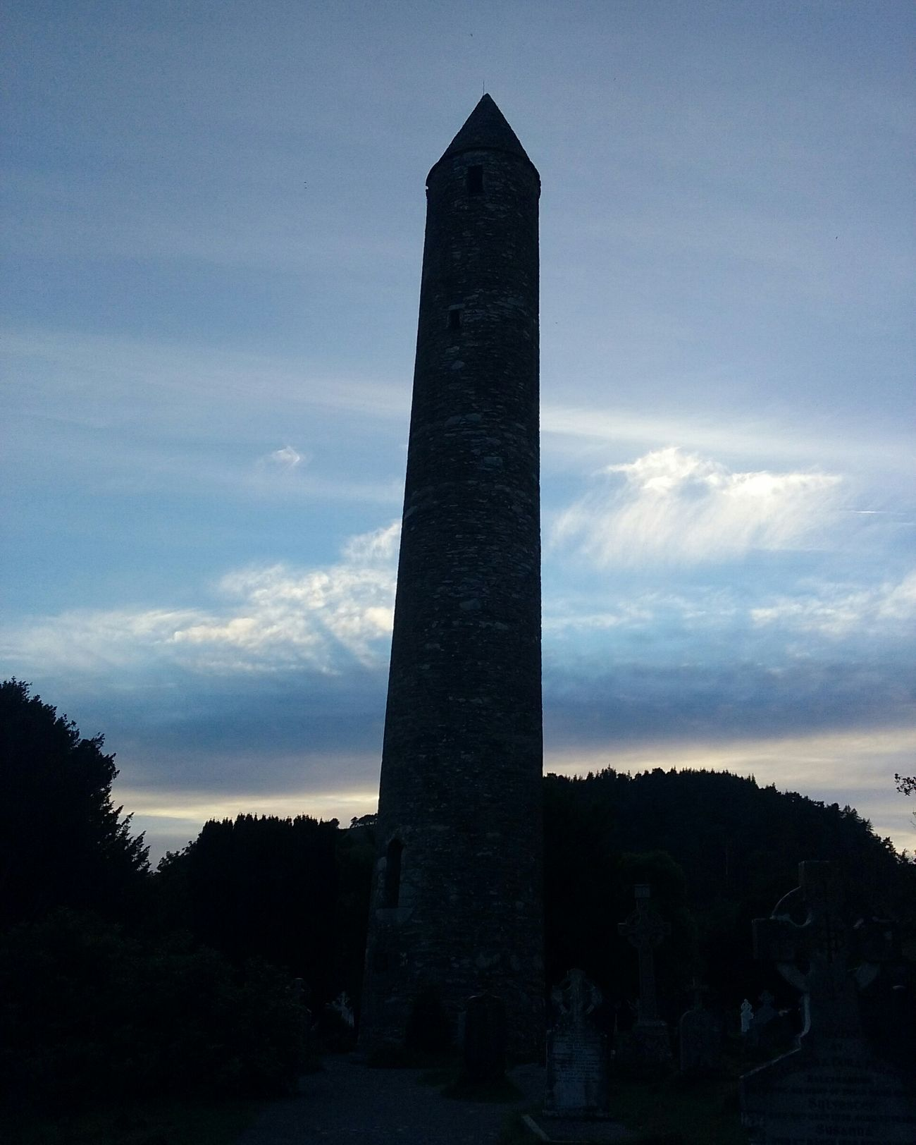 Glendalough Irish Culture Blue Sky Historical Monuments Round Tower