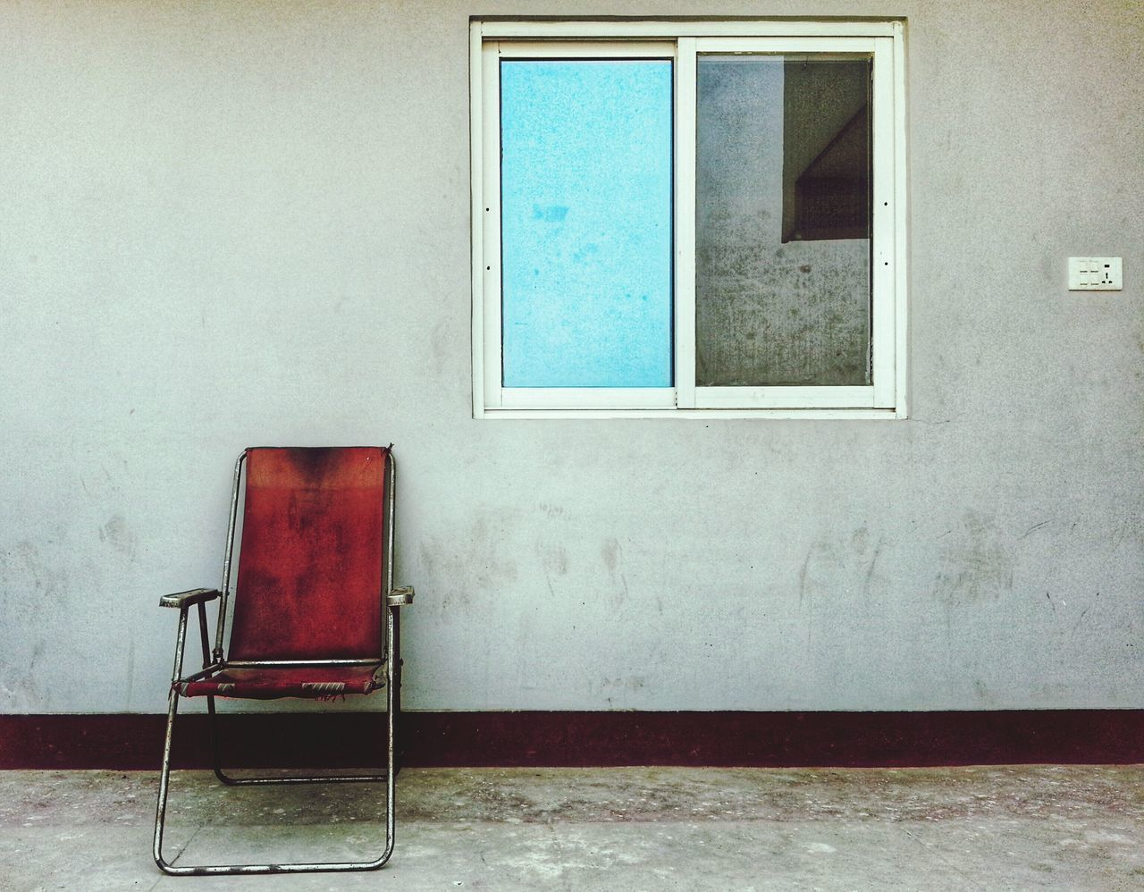 chair, no people, indoors, blue, architecture, window, built structure, day