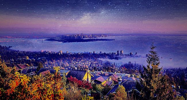Foggy purple night from top of the hills. Foggy Montains    Purple Fog Night Night Lights Sunset Clouds Top Sky