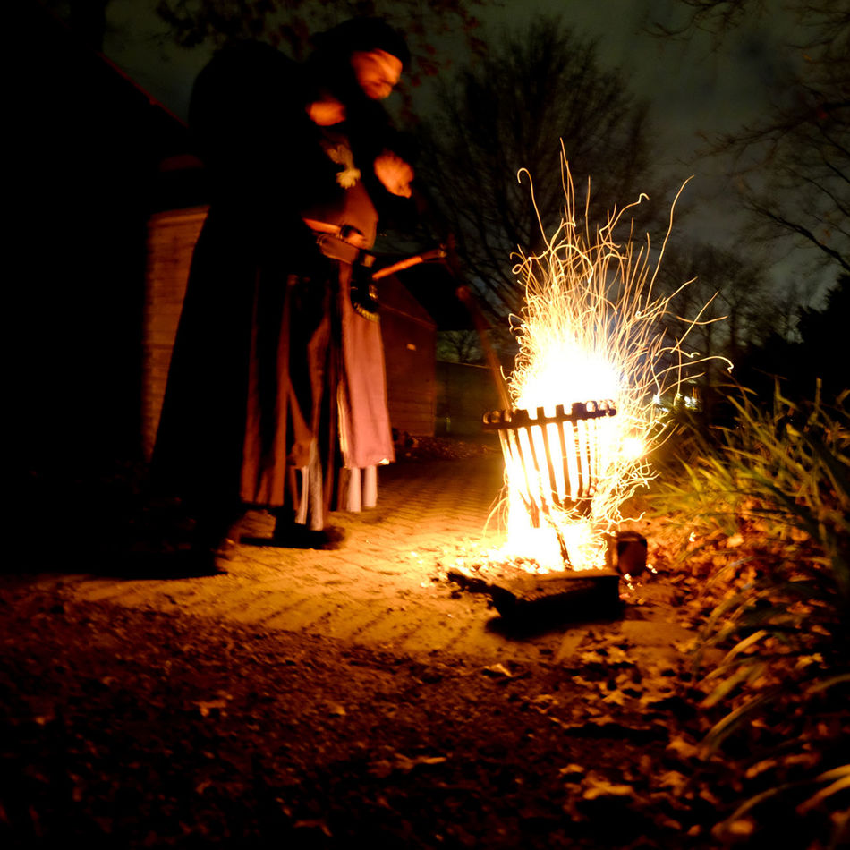 Fire Medival Night Watchman Sparks Fly