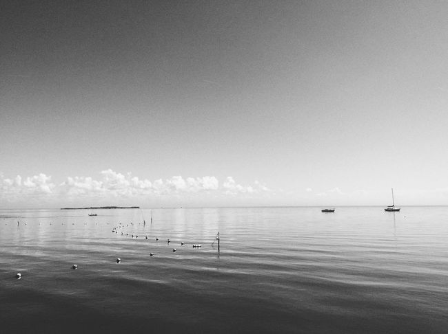 Sea Water Sky Nautical Vessel Transportation Tranquil Scene Boat Tranquility Waterfront Calm Ocean Non-urban Scene Sailboat Beauty In Nature Nature Cloud Blackandwhite Black And White Black & White Shootermag