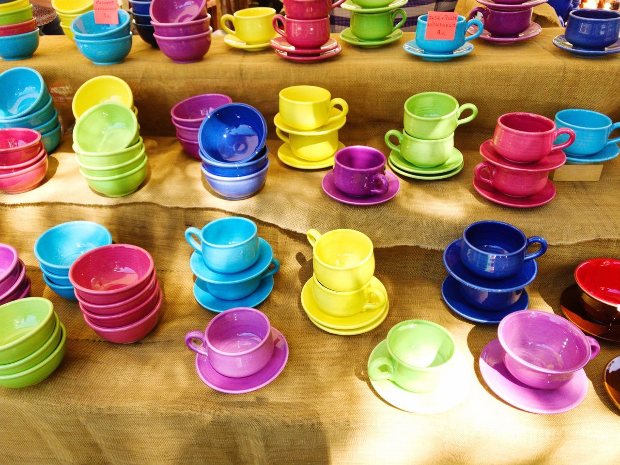 multi colored, variation, large group of objects, colorful, high angle view, choice, no people, indoors, abundance, day, stack, close-up