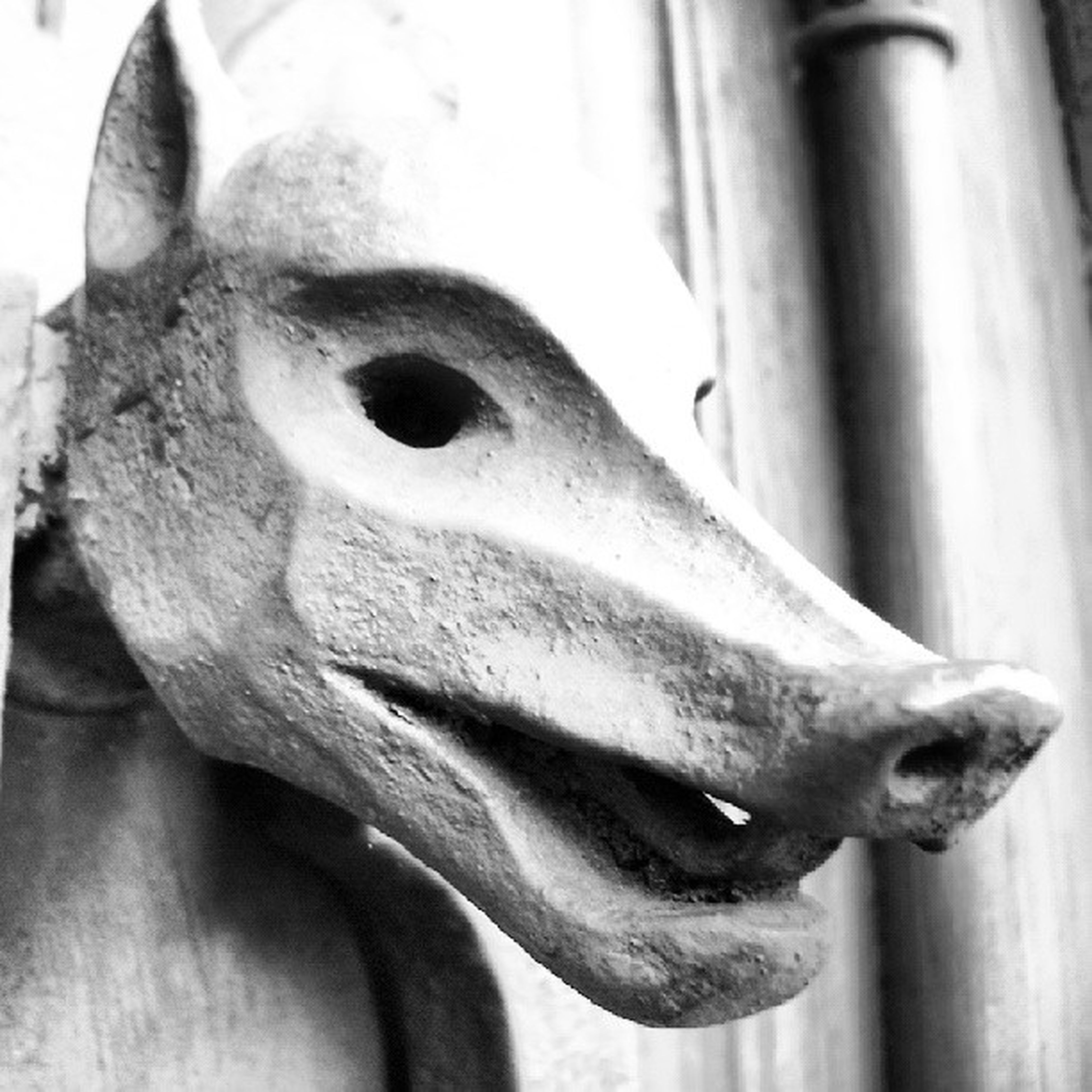 close-up, sculpture, statue, art and craft, focus on foreground, art, human representation, creativity, part of, animal representation, horse, no people, day, animal head, outdoors, cropped, animal body part, carving - craft product