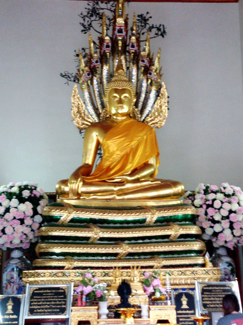 religion, statue, spirituality, male likeness, sculpture, human representation, gold colored, golden color, idol, place of worship, gold, low angle view, indoors, no people, day
