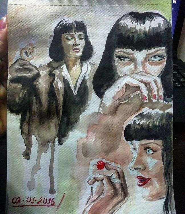 Pulpfiction MiaWallace Watercolour Nightsketch Sketchbook Sketching Doodling Dailysketch Moleskine Suluboya Eskiz Illustration UmaThurman Stpetersburgwatercolors Portrait