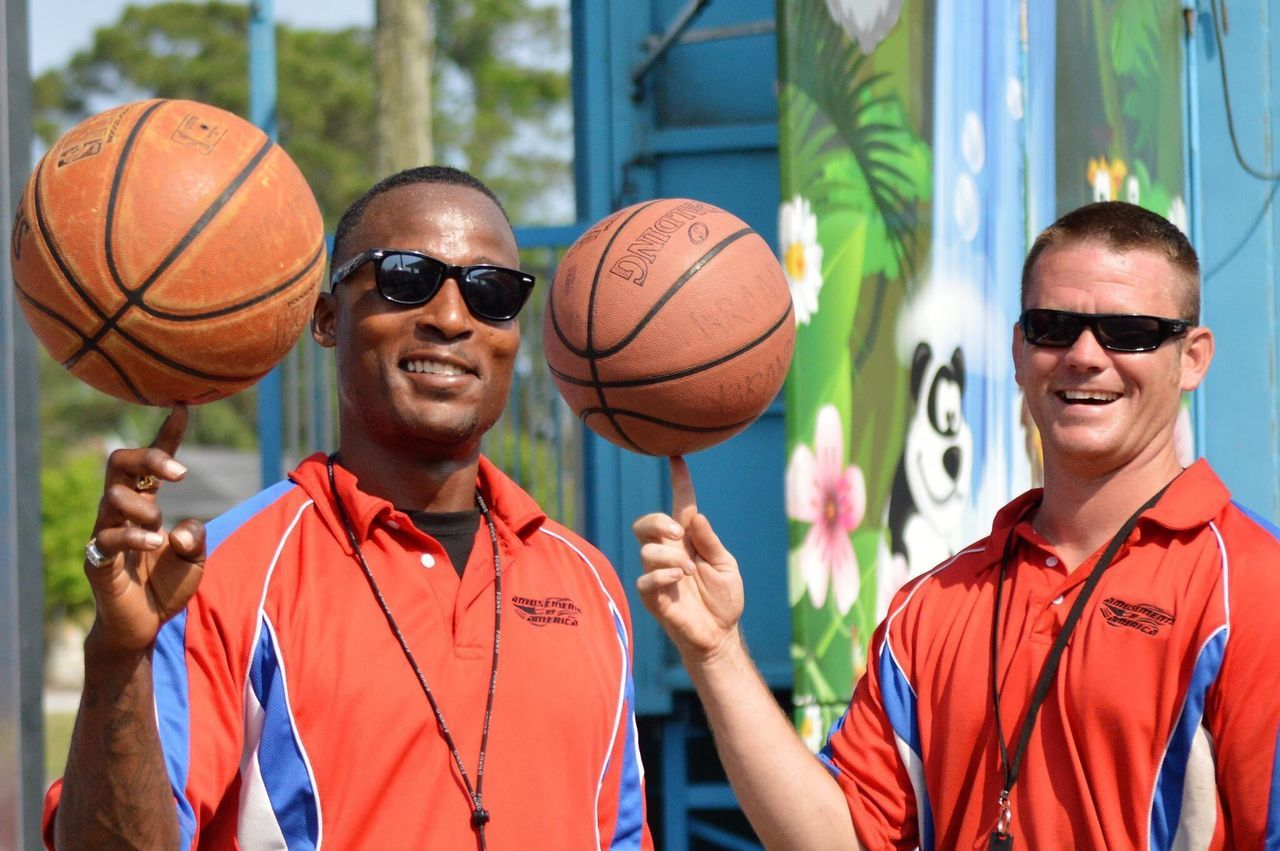 sunglasses, smiling, two people, day, basketball - sport, enjoyment, portrait, looking at camera, real people, togetherness, happiness, cheerful, outdoors, leisure activity, young adult, sport, playing, standing, bonding, men, friendship, sportsman, adult, people, adults only