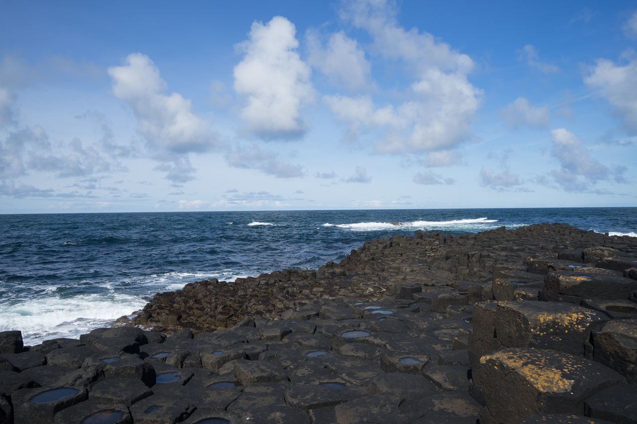 Beach Beauty In Nature Blue Cloud - Sky Day Giant's Causeway GiantsCauseway Horizon Over Water Nature No People Northern Ireland Northernireland Outdoors Rock - Object Scenics Sea Sky Tranquility Water Wave