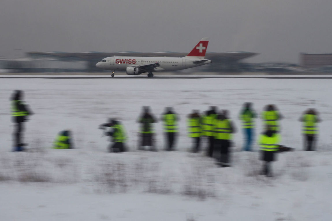 Spotting in Pulkovo airport, Saint-Petersburg, Russia. Aerospace Industry Air Vehicle Airplane Airport Airport Runway Flight People Pulkovo Snow Spotting Swiss Winter