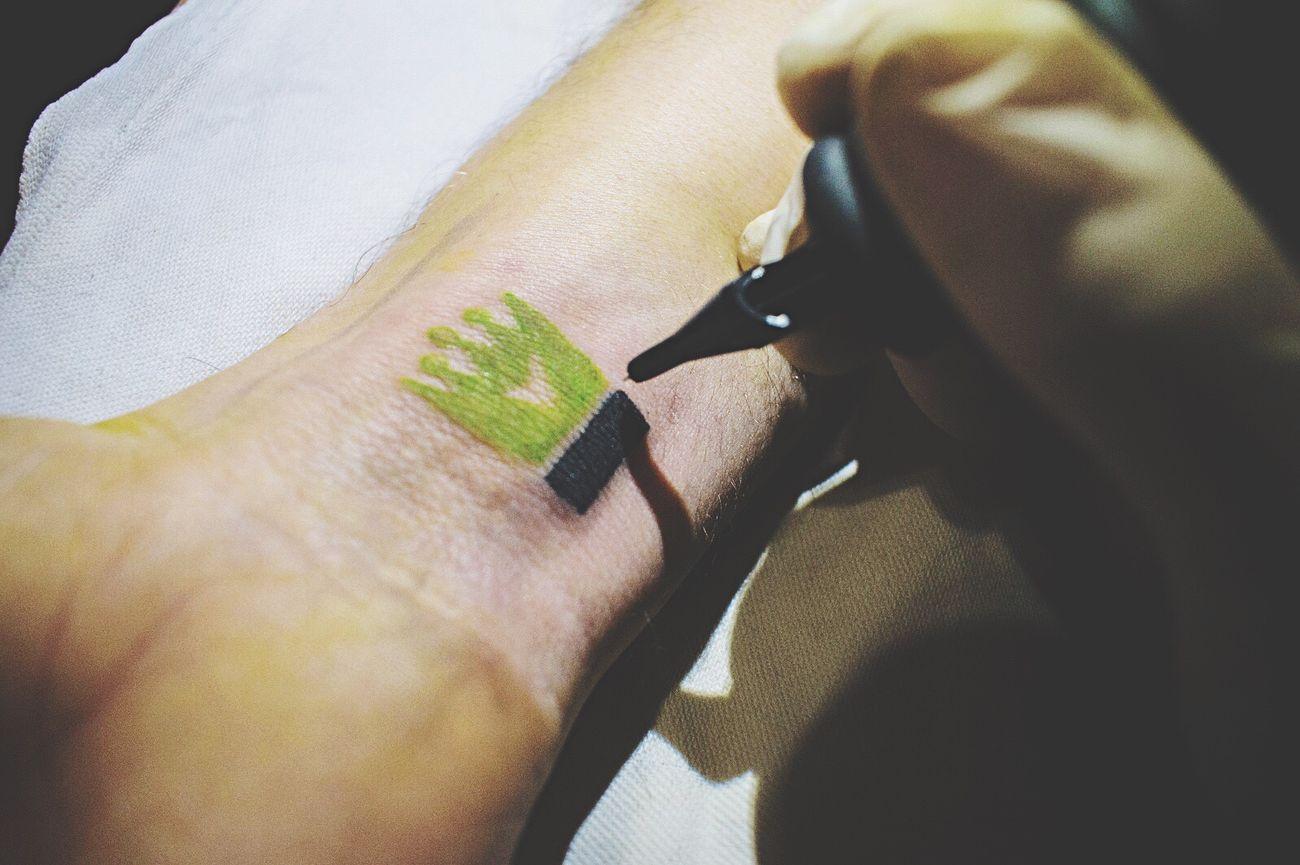 Human Hand Close-up Tattoo Crown Tattoo Artist At Work Black Nikonphotography Taleofink