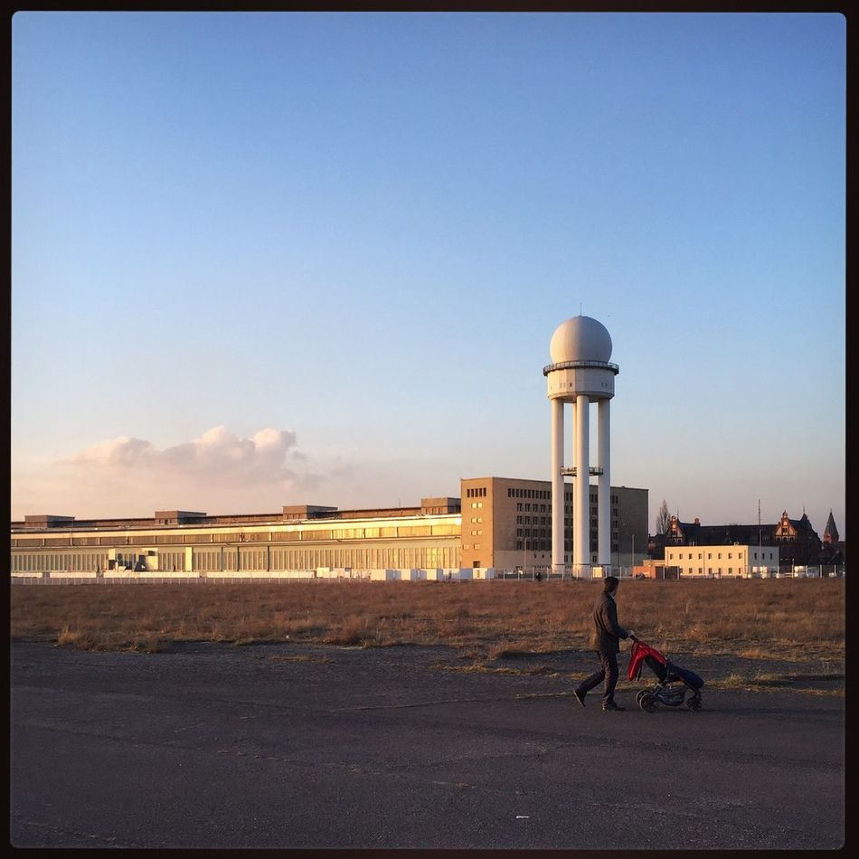Abstract Architectural Feature Architecture Architecture Berlin Berlin Photography Berliner Ansichten Berlinstagram Bicycle Building Exterior Built Structure Day Landscape Minimal Nature One Person Outdoors People Sky Sunset Tempelhof Tempelhof Airport Tempelhofer Feld Tower Transportation