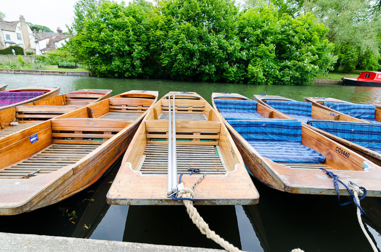 Cambridge University Cambridgeshire Day Mode Of Transport Moored Nature Nautical Vessel No People Outdoors Punting On The River Transportation Tree Water Wood - Material