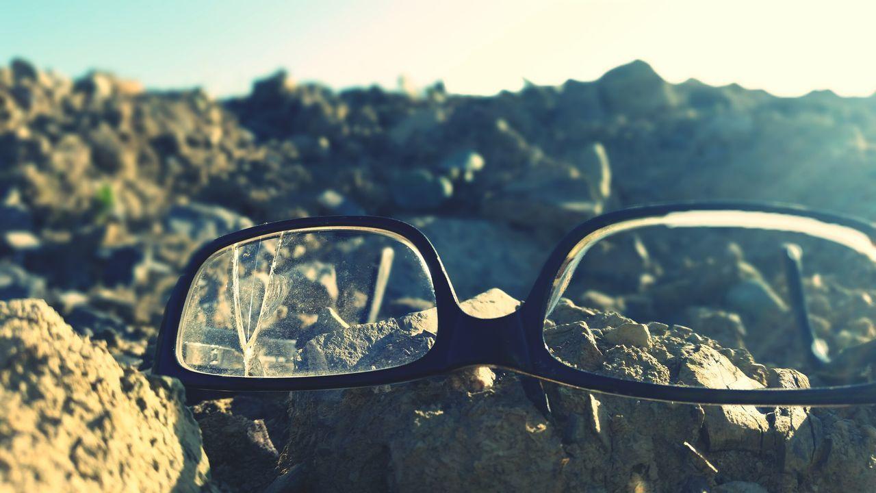"""""""Broken view"""" Eyeglasses  Summer Outdoors Nature Close-up Broken Glasses Crime Crime Scene Desert Hill"""