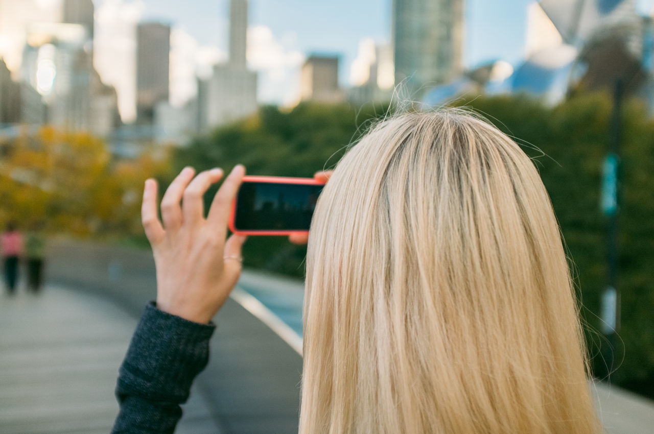 Beautiful stock photos of chicago, 25-29 Years, Arms Raised, BP Bridge, Blond Hair