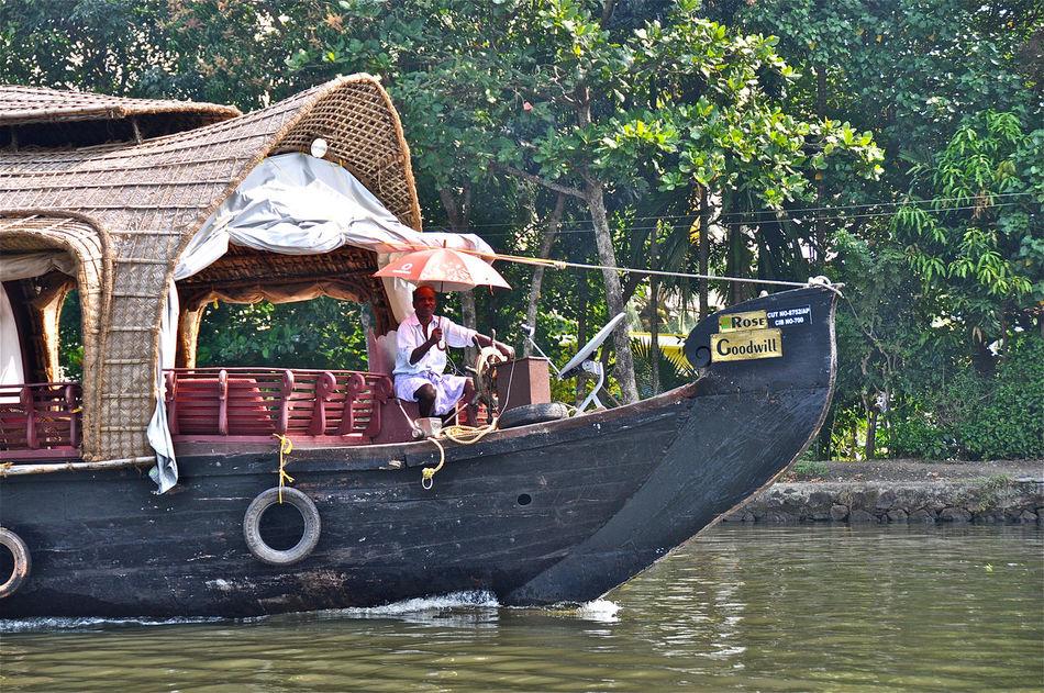 Backwater Boat India Indian Man Kerala Nautical Vessel
