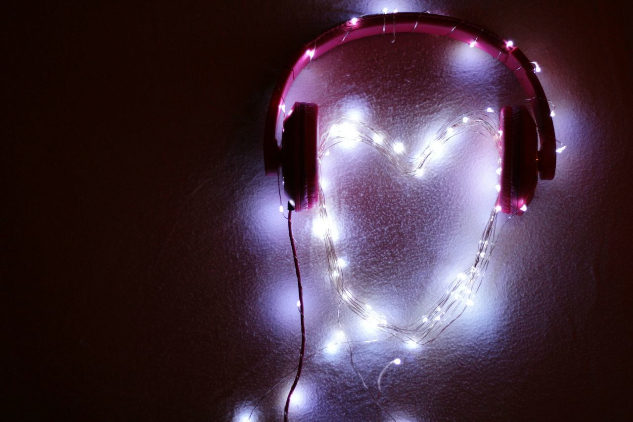 Listen to your heart more. Illuminated Getting Inspired EyeEm Best Shots Glowing EyeEm Heart Lights Pink Headphones