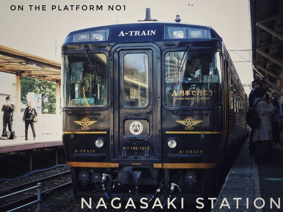 Nagasaki Today JR KYUSHU TRAINS A-Train : Special Limited Express coming Nagasaki Station Today only. 50mm Low Position Mode Of Transport On The Platform train design Eiji Mitooka+Don Design Associates 水戸岡鋭治