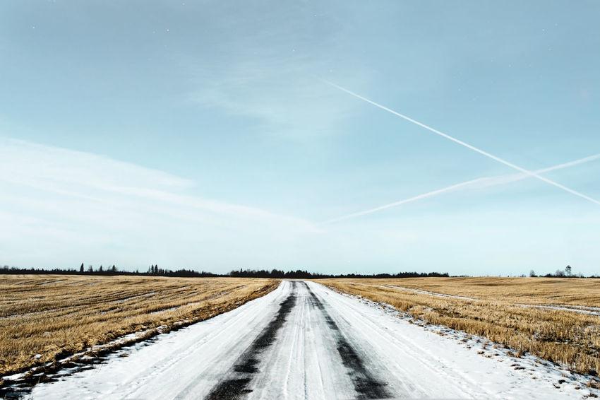 Cloud - Sky Crops Day Field Landscape Outdoors Road Sky Trails Winter