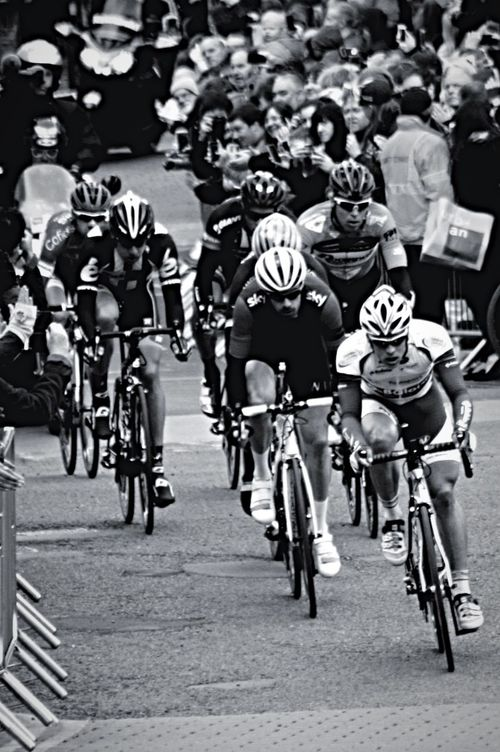 Blackandwhite Monochrome Tour De Yorkshire York North Yorkshire Leader Pavement Cycle Racing