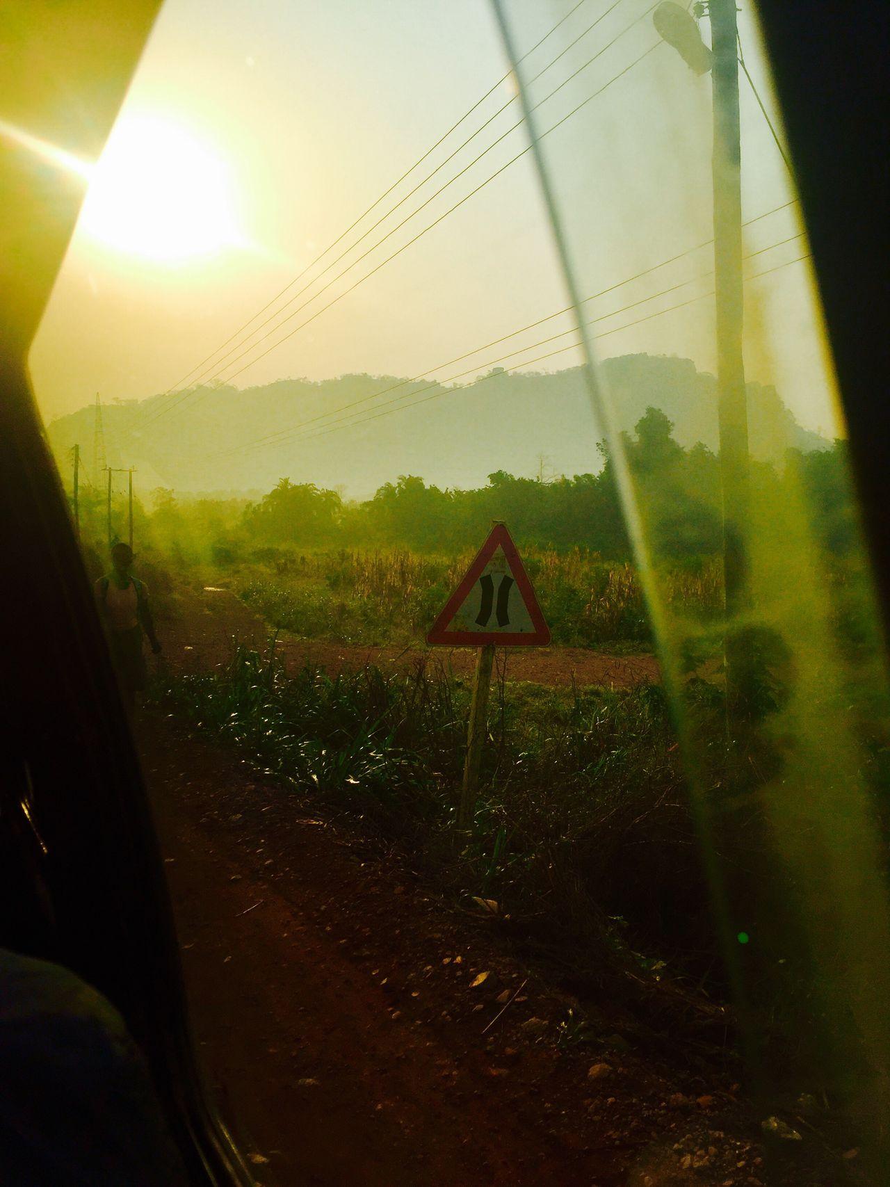 Transportation Landscape Nature Vehicle Interior Road Day Outdoors Electricity Pylon Beauty In Nature Sky Car
