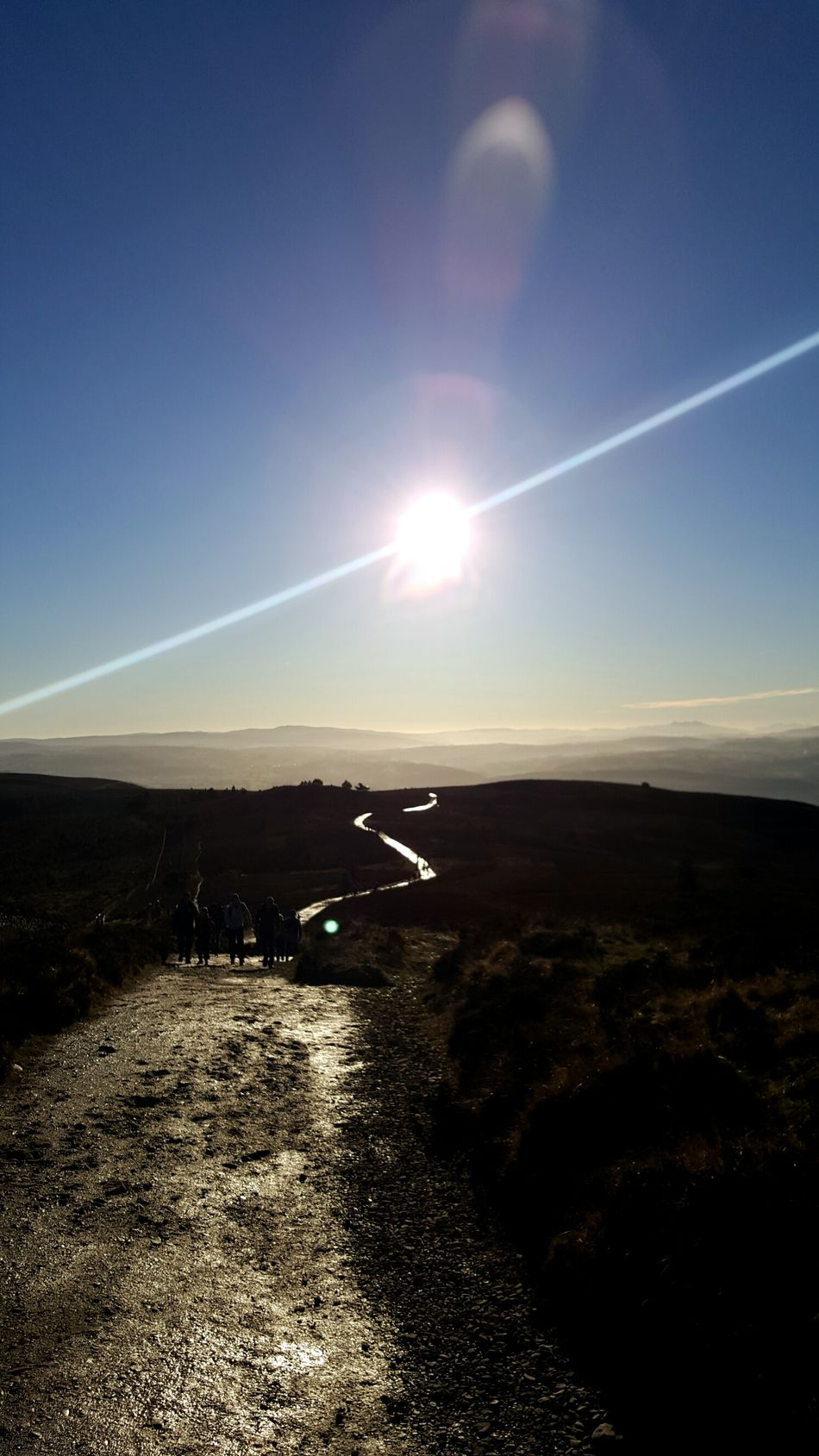 Outdoors Sky Sun Nature Landscape No People Day Backgrounds Tranquility Sun Flare Light Flares Heather Moors Moorland Wales Moel Famau Scenics Beauty In Nature Sunlight Sunset Nature Beams Of Light Shadows & Lights Shadow