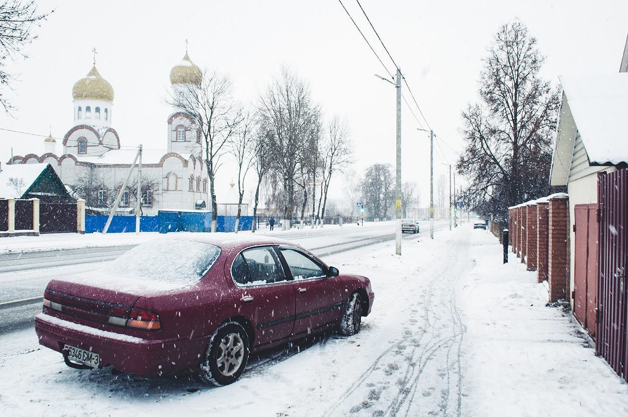 Winter Snow Car Cold Temperature Transportation Snowing No People Outdoors Day Traces Road Street Streetphotography Photography Colors EyeEm Best Shots Travel Destinations Snowfall City Winter Snow ❄ Church EyeEm Gallery