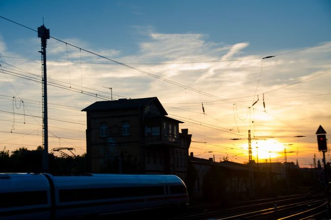 My Eyes My Berlin Sunset Sunset Silhouettes Transportation Railroad Track Sunbeam TakeoverContrast Nature Motion Motion Capture EyeEm Best Shots Mode Of Transport Dramatic Sky Future Vision Travel Fine Art Film Landscapes Fantasy Dreaming Urban Exploration
